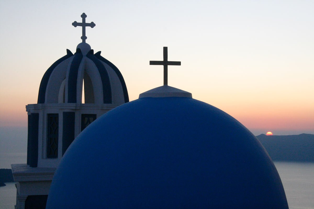 Church roofs at sunset on Santorini