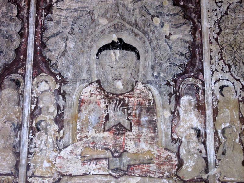 Frescoes inside Thambula Temple in Bagan, Myanmar