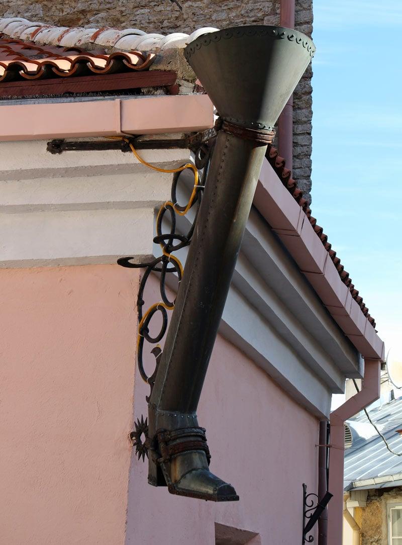 Tallinn Old Town drainpipe shaped like a boot