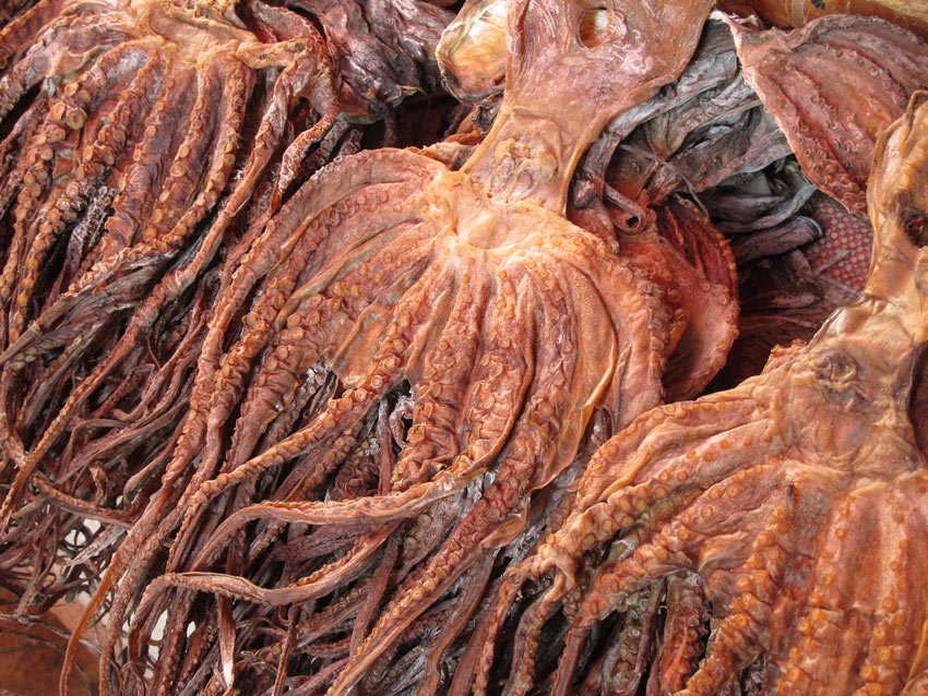 Dried octopus at the Darajani Market in Stone Town, Zanzibar