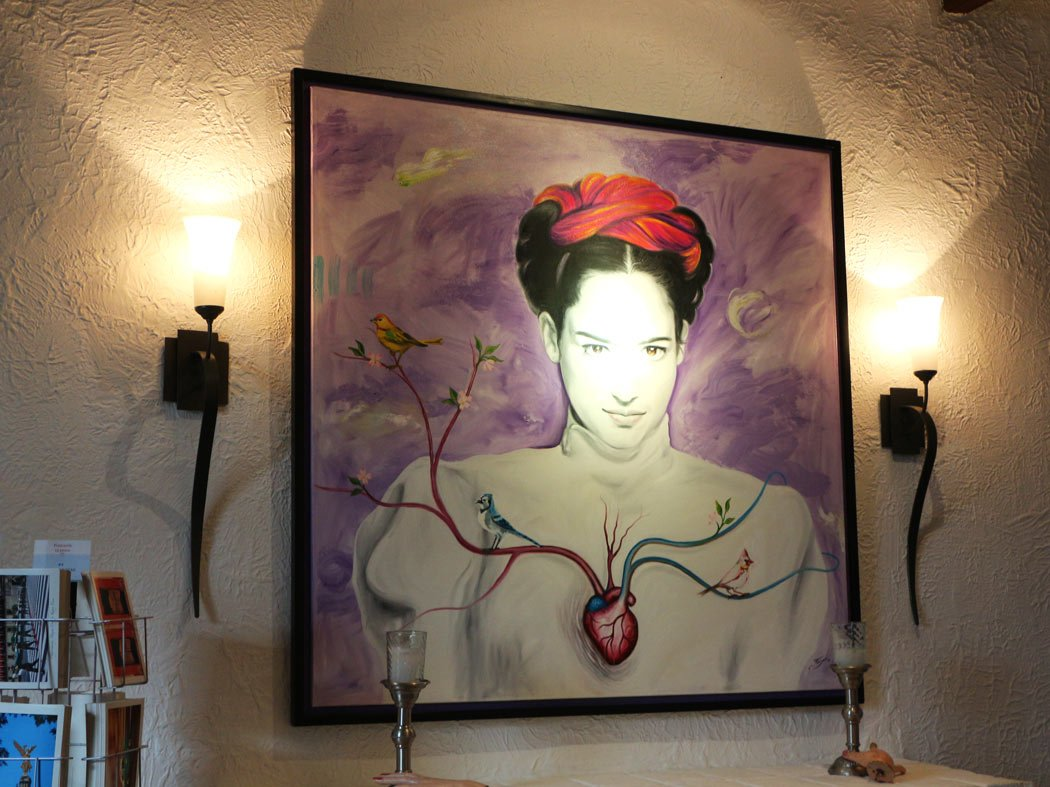Frida Kahlo painting at the Red Tree House, Mexico City