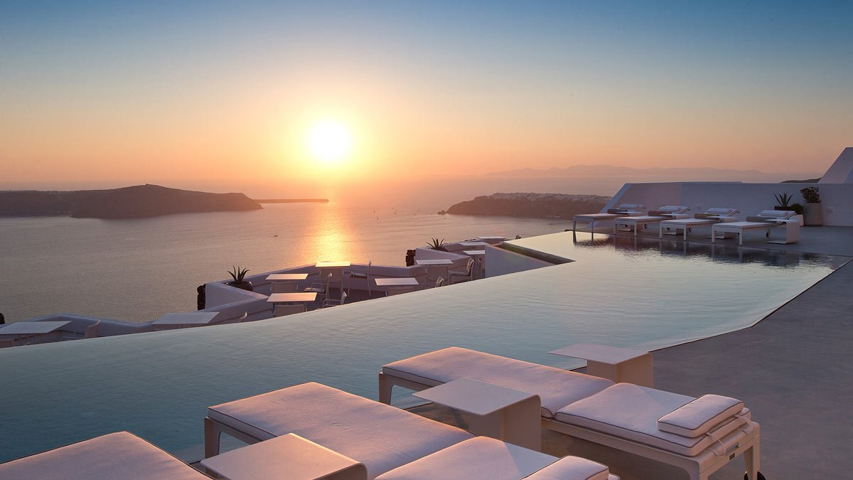 The Grace sits high above Santorini's caldera, offering endless views of the sea