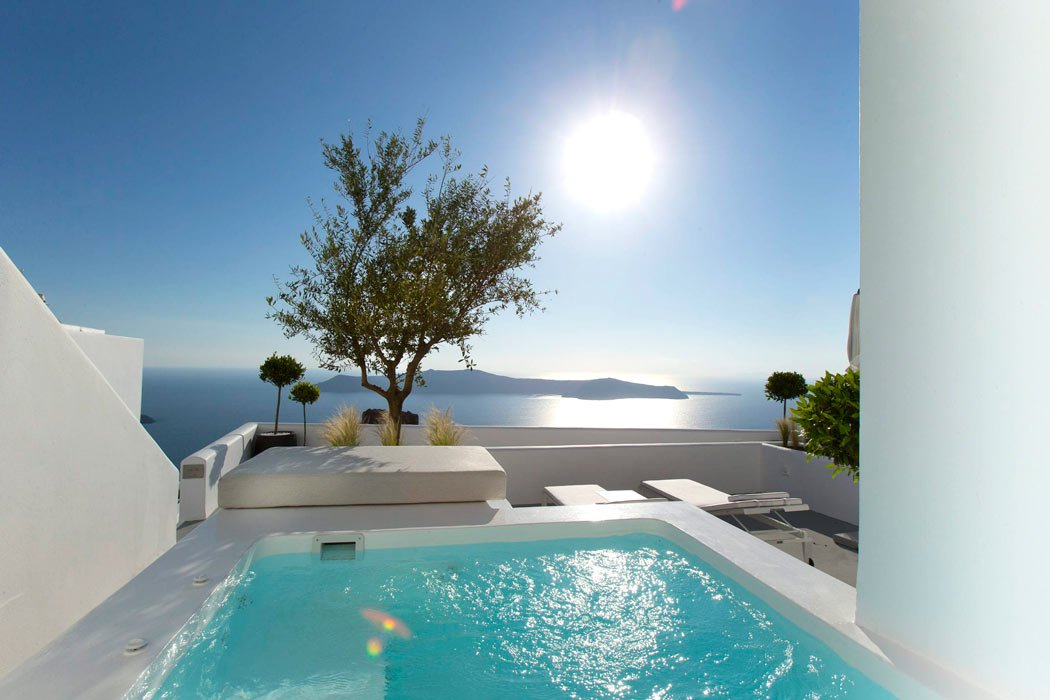 Most rooms and suites at the Grace Hotel, Santorini, have their own plunge pools or hot tubs.