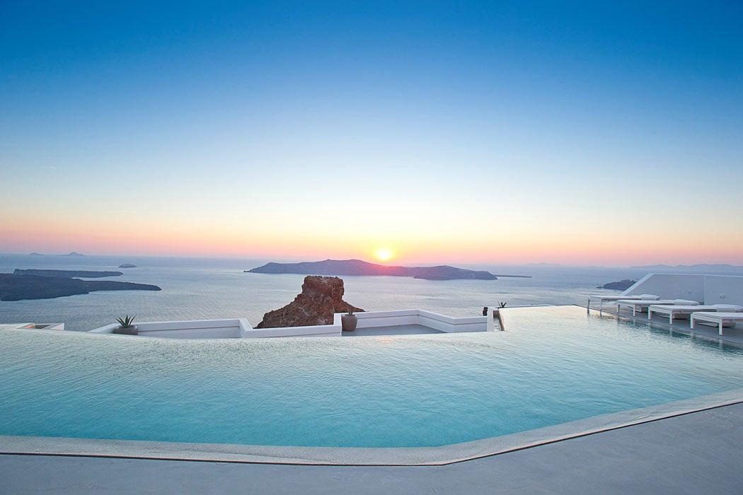 The swimming pool at Santorini Grace