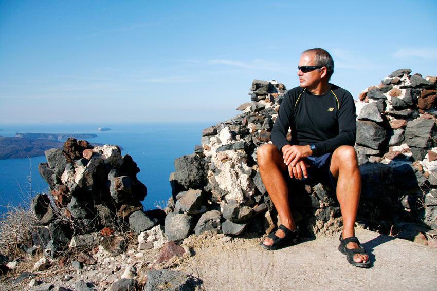 We hiked up Skaros Rock! Here's George...