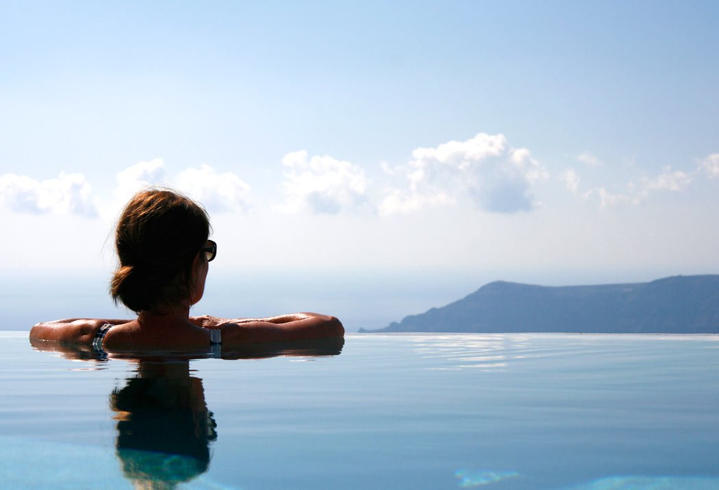 Looking out from the Santorini Grace pool at the endless views...