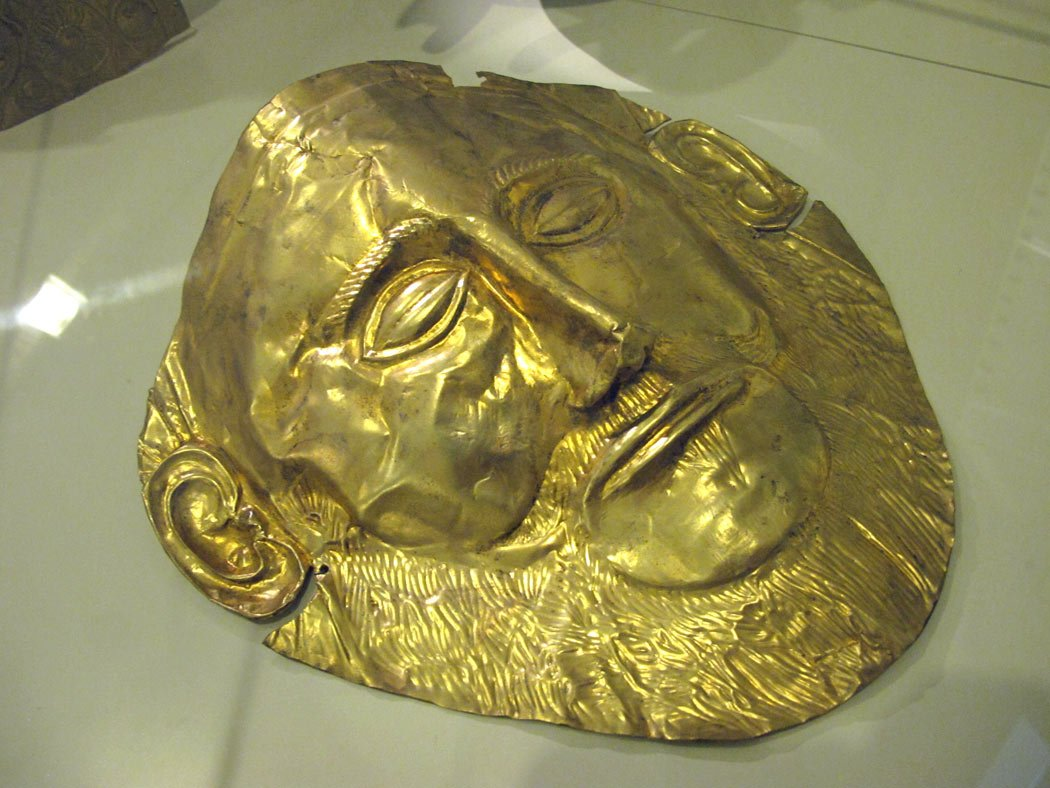 The gold funeral Mask of Agamemnon on display in the National Archaeological Museum of Athens