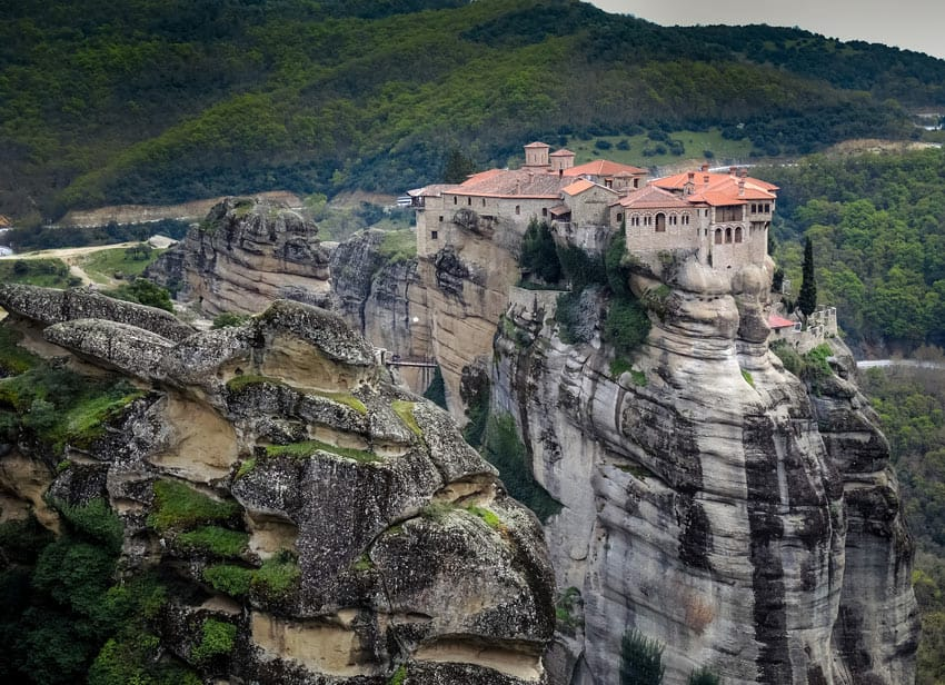 One of the most unique places to visit in Greece is historic Meteora, with its monasteries built atop rock pillars.