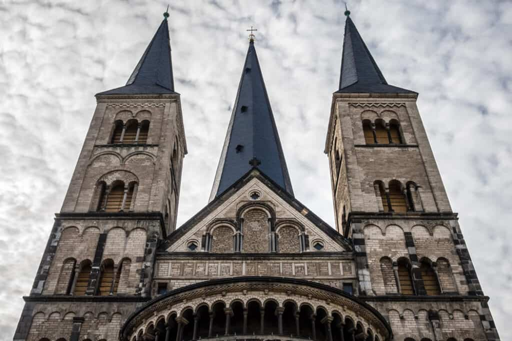 The impressive Munster Basilica in Bonn, Germany, was built between the 11th and 13th centuries.
