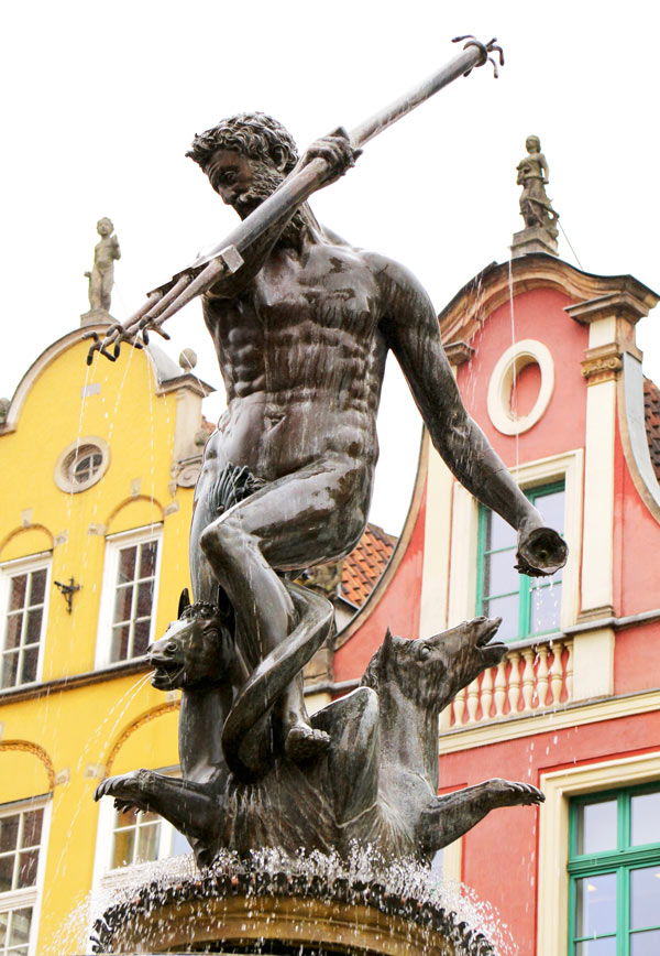 Neptune Fountain in Gdansk Old Town