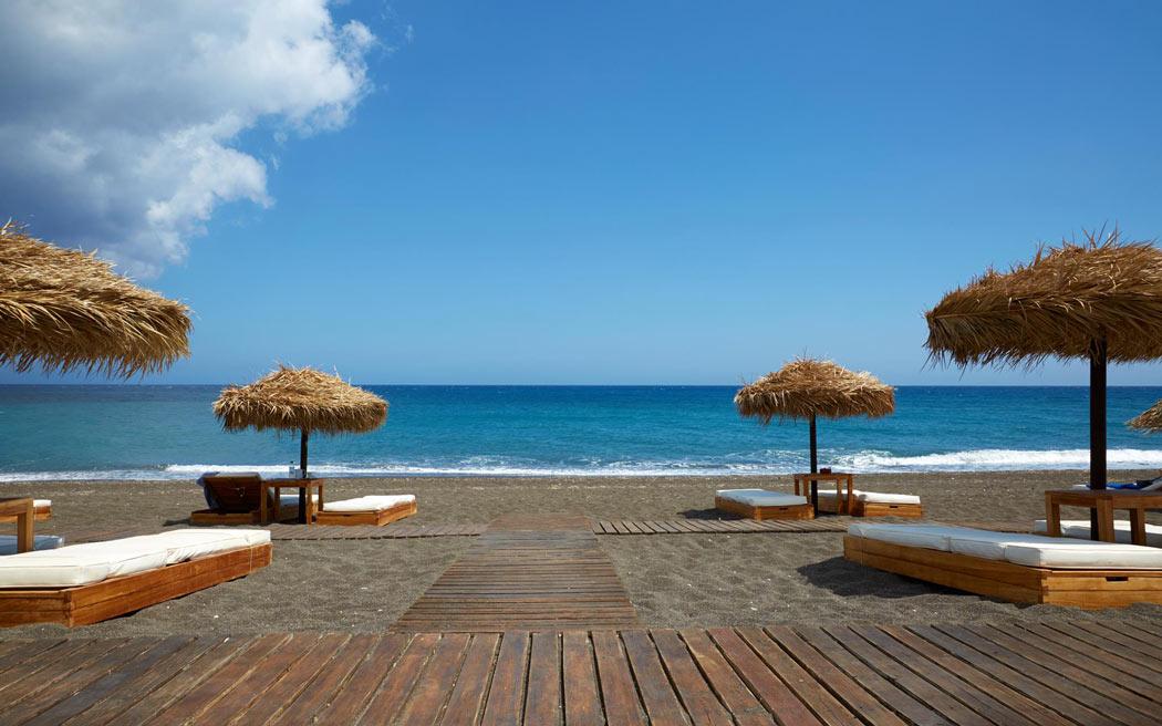 Vedema's beach club on Perivolos Beach