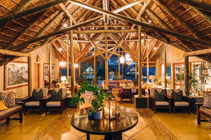 The welcoming reception area at Thornybush Game Lodge