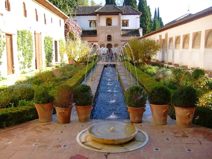The Generalife garden is part of the world-famous Alhambra complex in Granada, Spain.