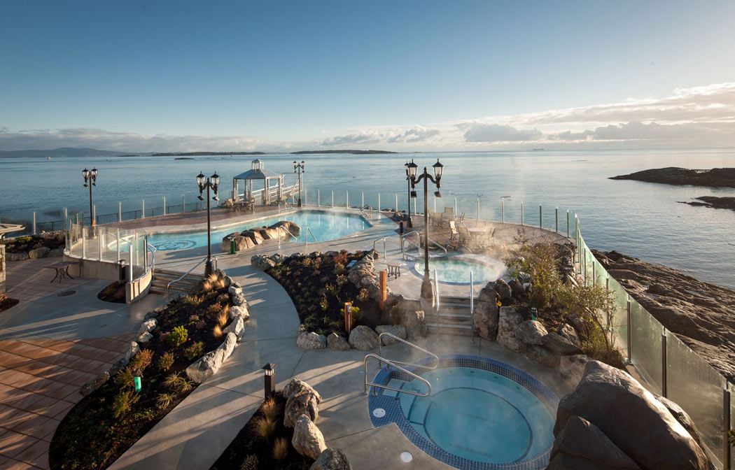 Outdoor pool at the Oak Bay Beach Hotel, one of the top luxury hotels in Victoria, BC