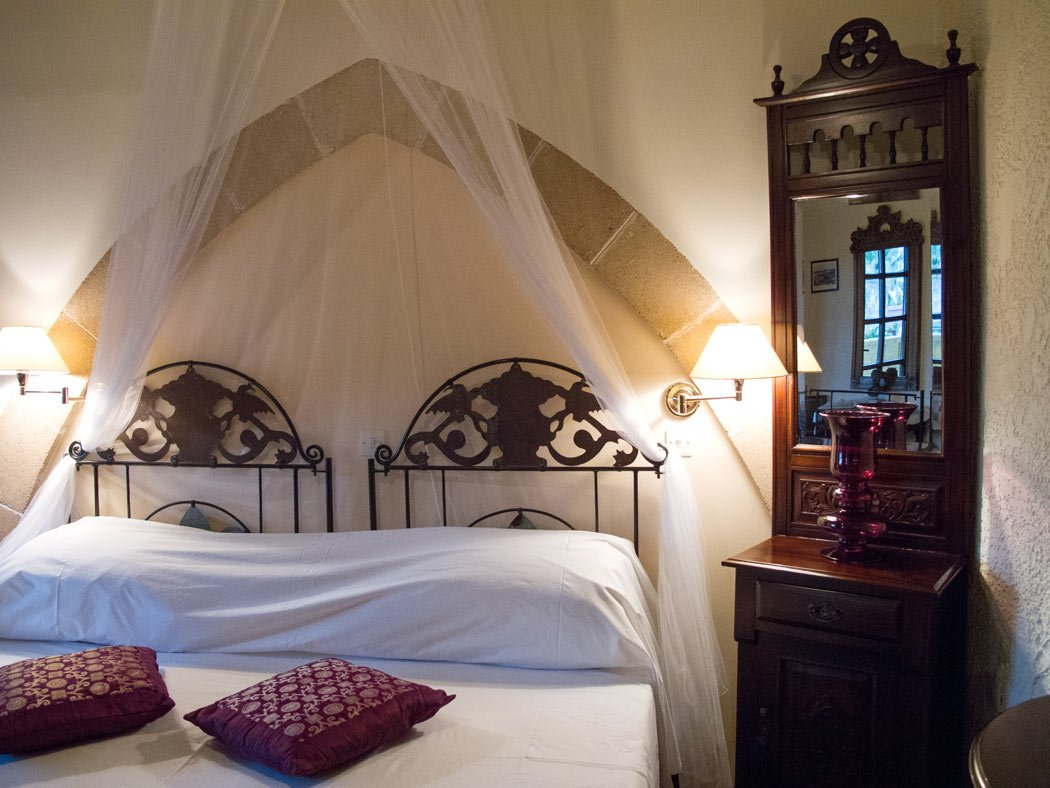 A guest room at S. Nikolis Historic Hotel in Rhodes Old Town.