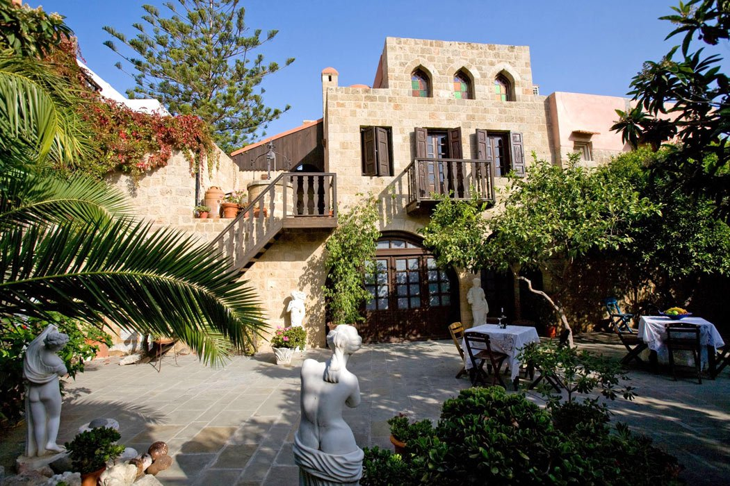 Breakfast is taken in the courtyard at S. Nikolis Historic Boutique Hotel, Rhodes Old Town.