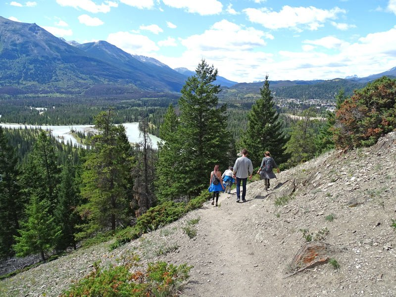 Hiking down Old Fort Point, Jasper