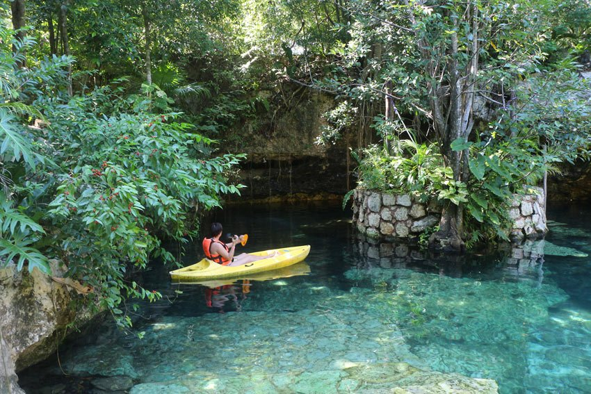 Kayaking in a Mexican cenote