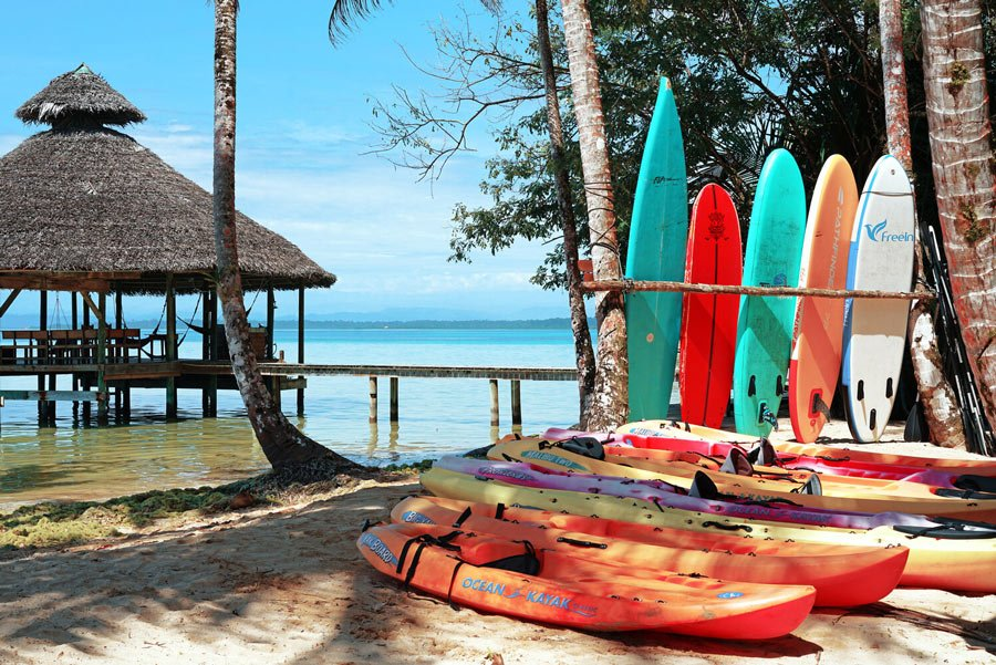 Kayaking and other watersports gear is complimentary at Casa Cayuco
