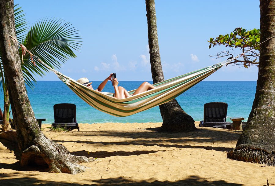 Swing in a hammock at Island Plantation, Bocas, on Bluff Beach
