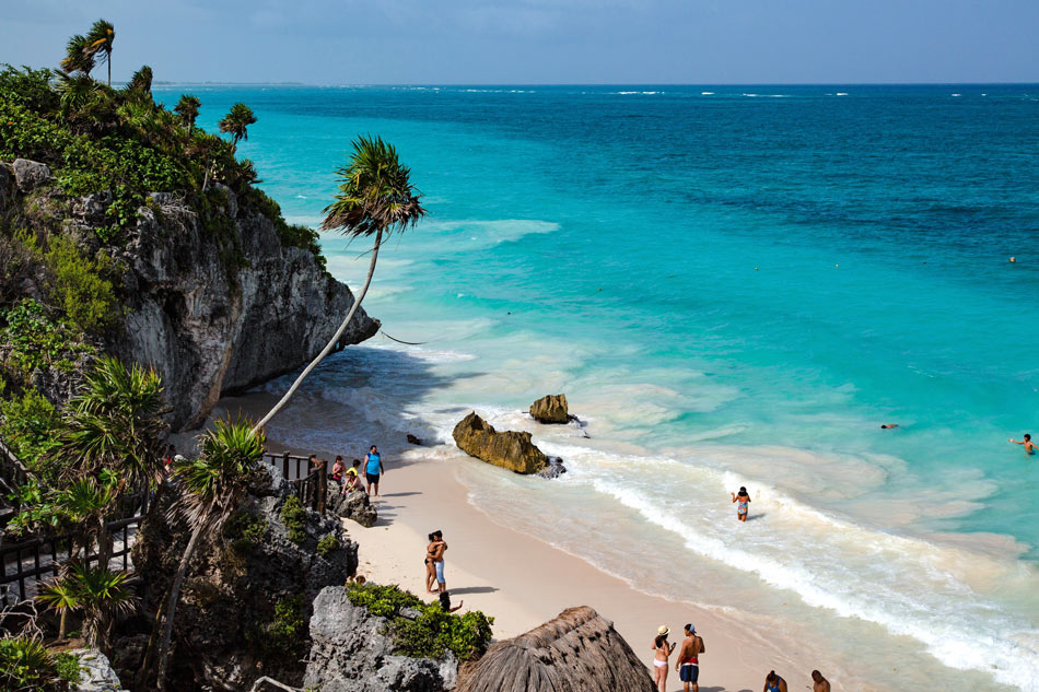 The swimming beach at the Tulum ruins, Mexico