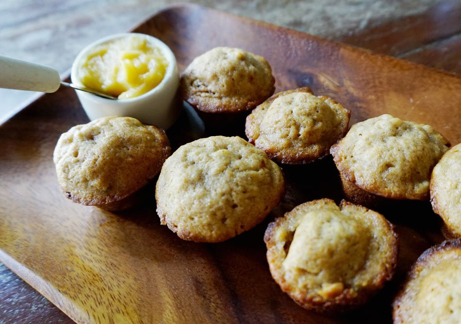 Banana muffins with honey butter at Casa Cayuco