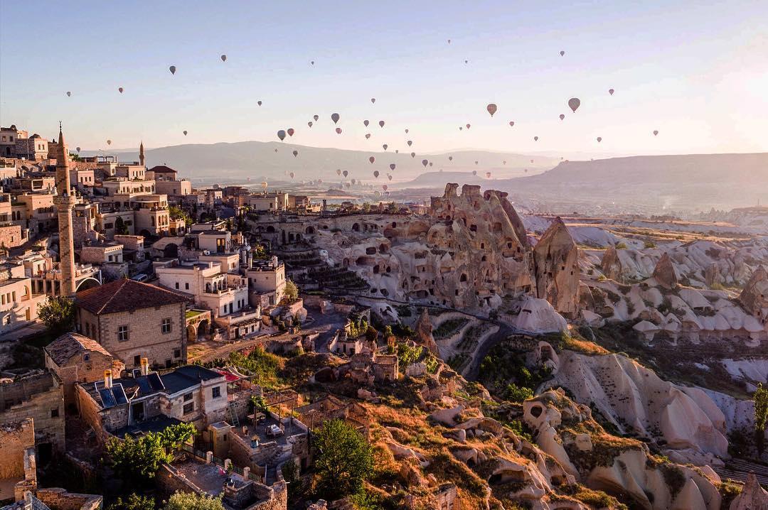 View of hot air balloons from Argos in Cappadocia
