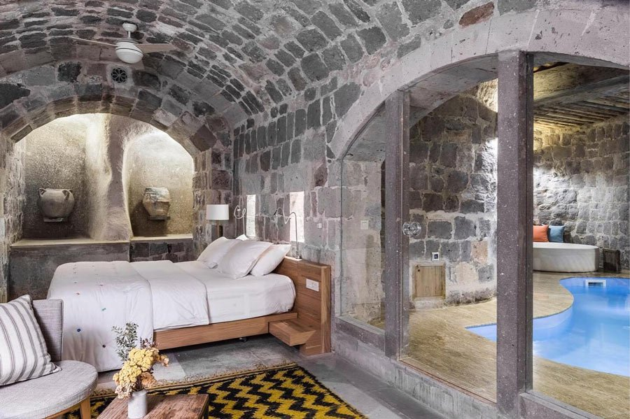Some cave rooms at Argos in Cappadocia have private plunge pools