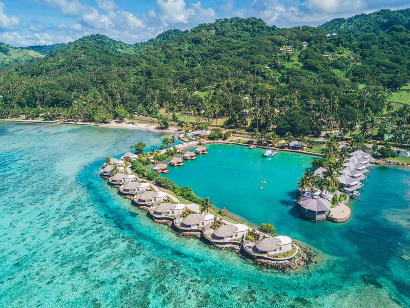 Fiji's Koro Sun resort has 15 bures that jut out into the water
