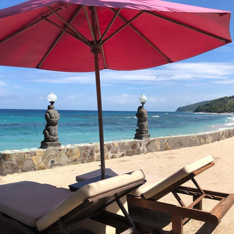 Beach chairs for two at Puri Mas on Lombok