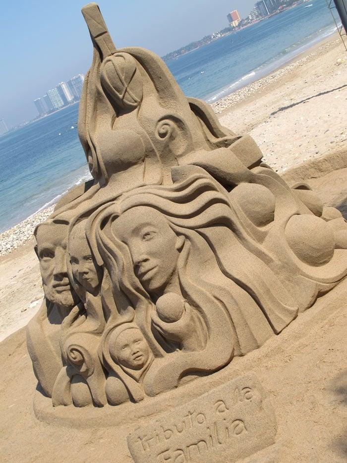 Sand castle sculpture on Puerto Vallarta Malecon