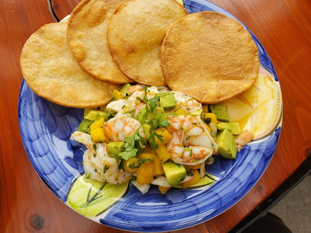 Shrimp tostada at Serendipity Bistro, Naramata