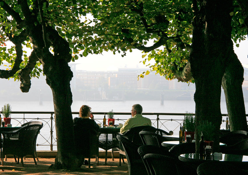 Lingering over tea and coffee by the Elbe River at the Louis C. Jacob Hotel