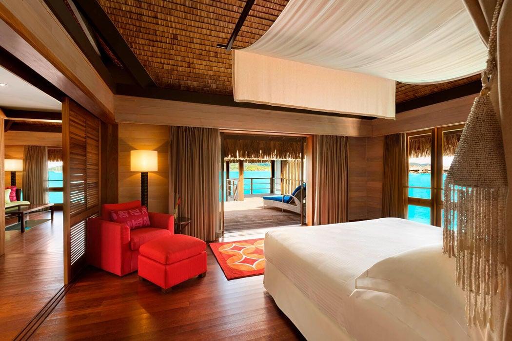 St Regis Bora Bora overwater bungalow bedroom