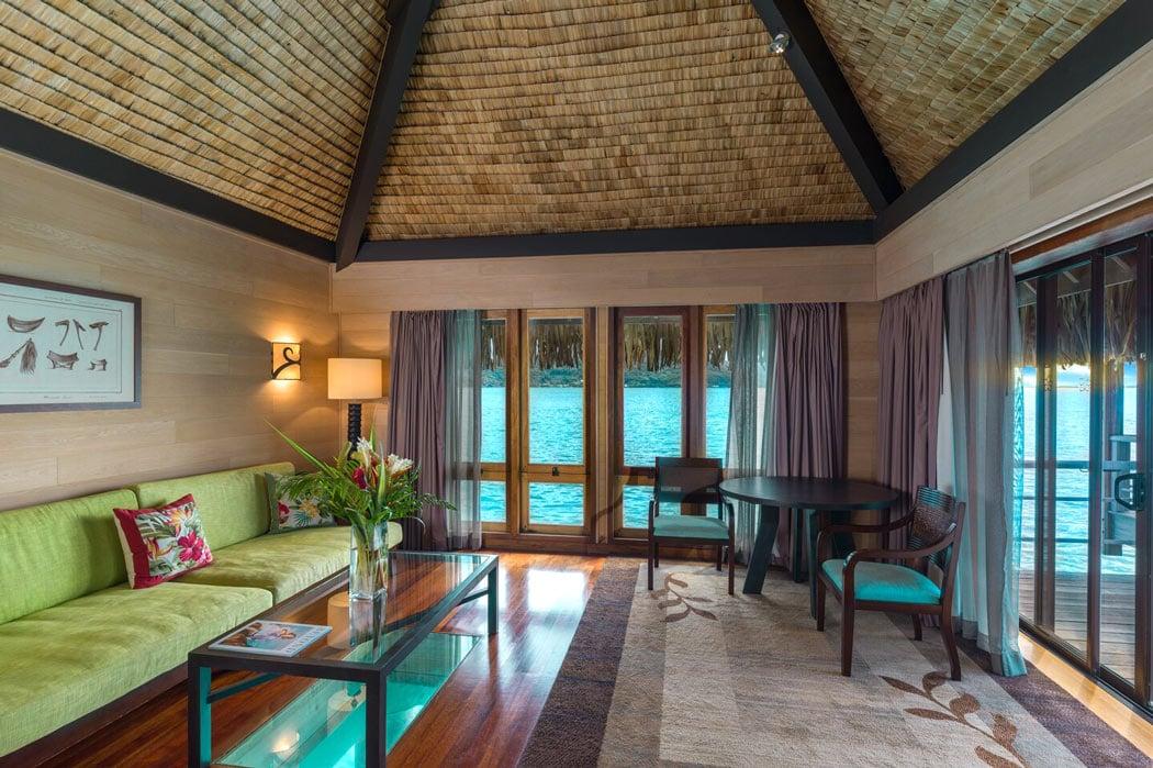 Living room of St Regis Bora Bora overwater villa