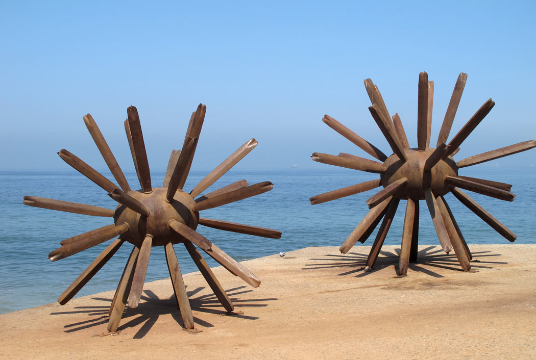 """""""Standing on End"""" represents two sea urchins."""