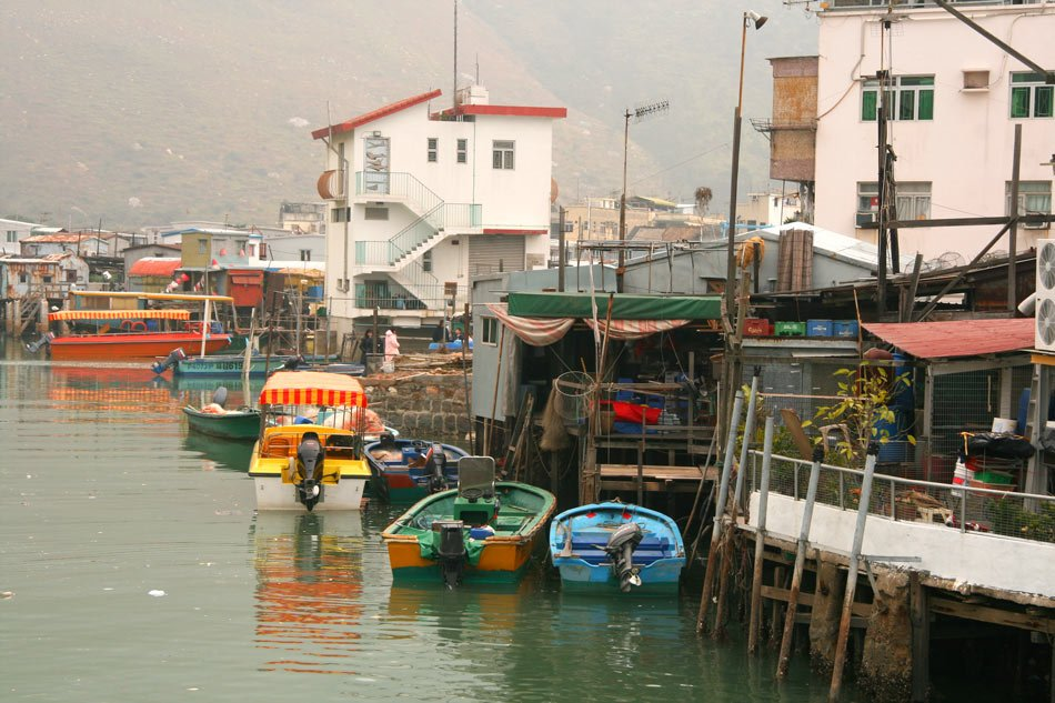 Wood houses in Tai O fishing village are perched on stilts over creeks