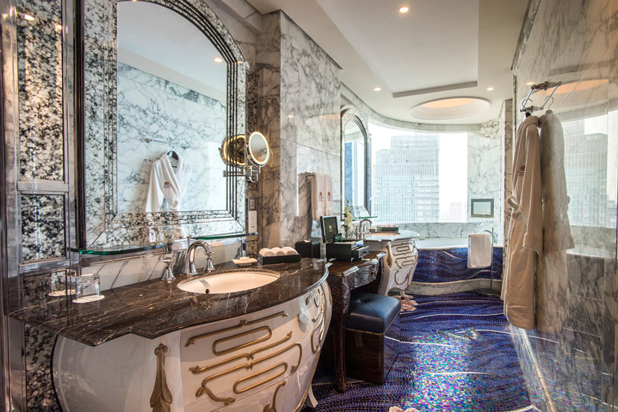 The Reverie Saigon Panorama Suite bathroom