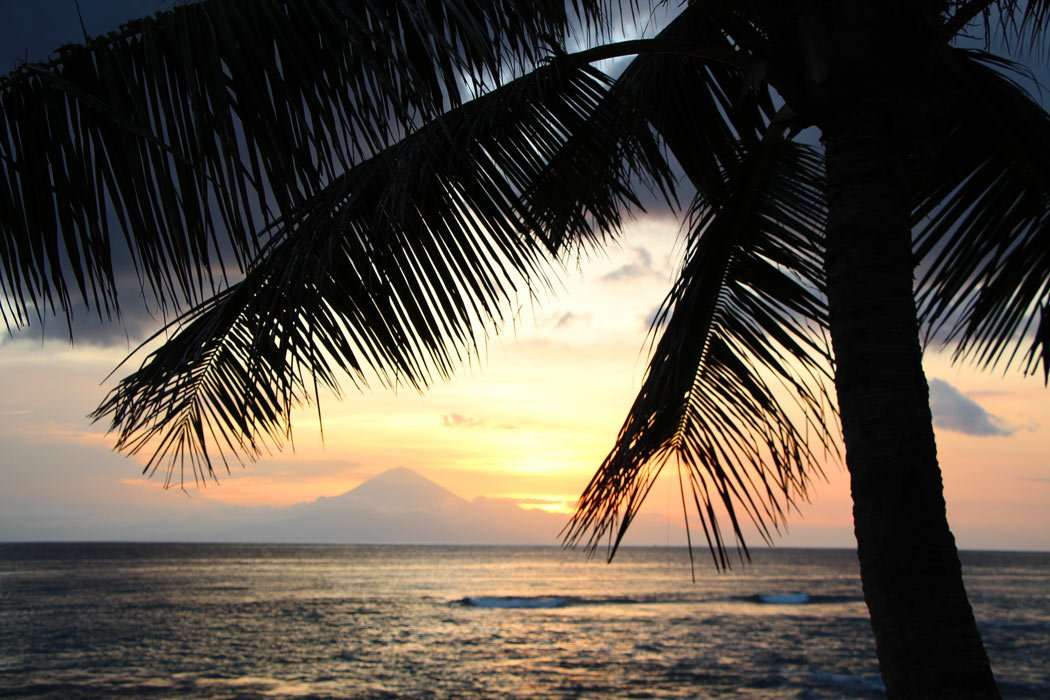 When the sun sets on Lombok, you can clearly see Bali in the distance