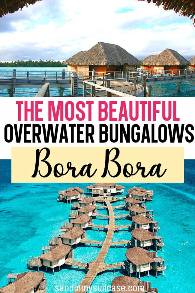 Beautiful overwater bungalows in Bora Bora