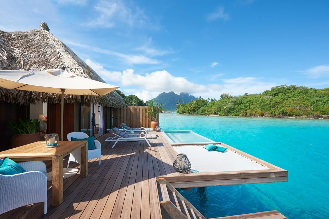 Every bungalow deck at Conrad Bora Bora Nui has a built-in overwater hammock