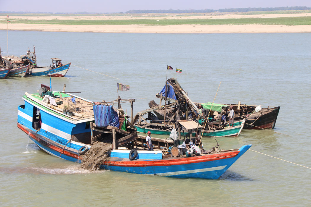 Dredging boats near Yangon