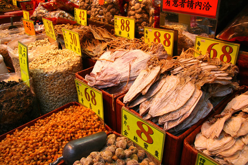What do we have here? Dried squid and other seafood for sale in Tai O