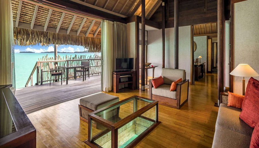 Living room of overwater bungalow at InterContinental Bora Bora Thalasso Resort