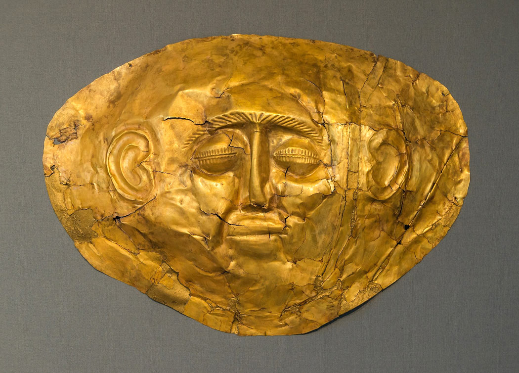 A gold funeral mask found at Mycenae