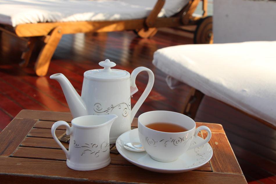 Tea on deck on the Belmond Orcaella