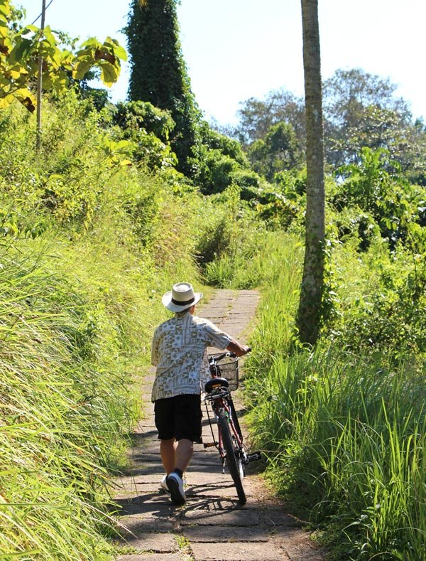 Bicycling countryside trails is a popular Bali activity