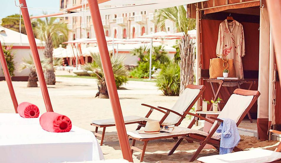 Hotel Excelsior Venice Lido cabana on the beach