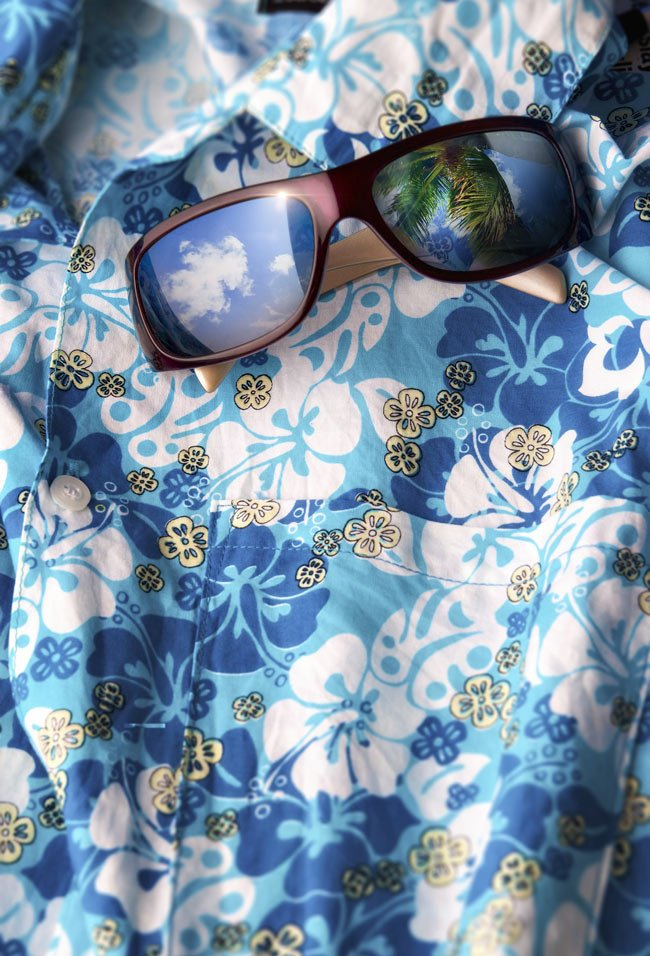 Hawaii shirt and sunglasses