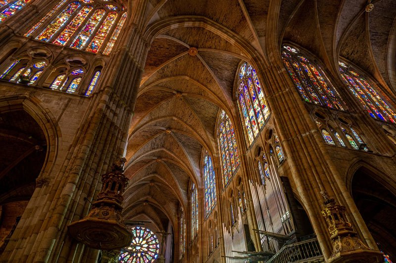 Stained glass windows inside the Leon Cathedral